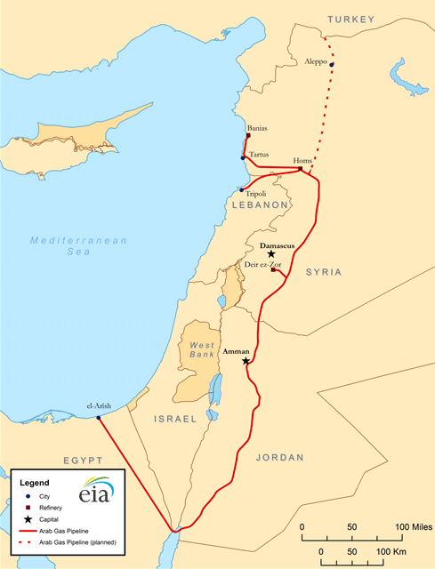 Map of the Arab gas pipeline